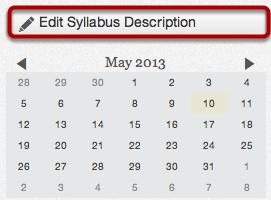 Edit Syllabus Description