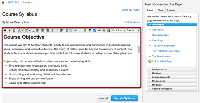 Edit Syllabus Description Using the Rich Content Editor
