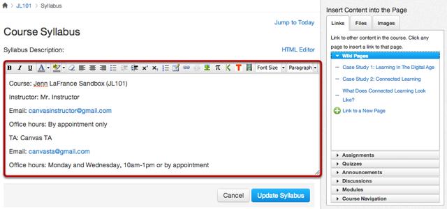 Edit Syllabus Description Using the Rich Content Editor