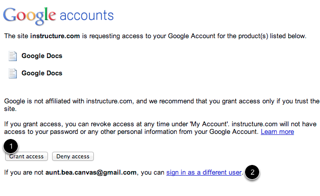 Authorize access to your Google account