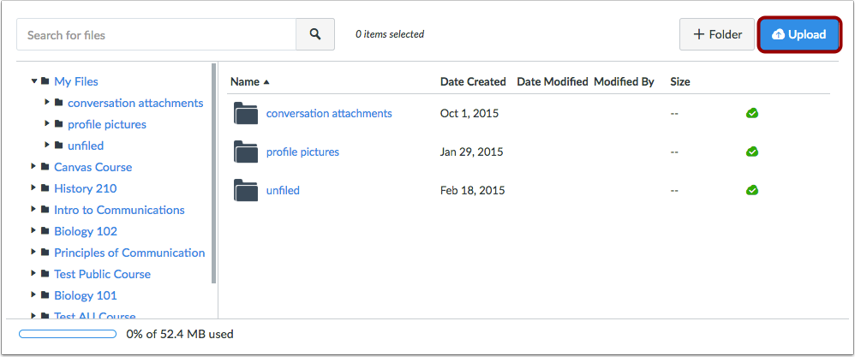 View User Files and Upload a File