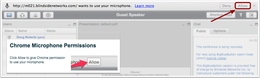 Allow Chrome Microphone Permissions