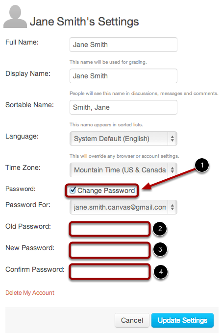 Click Change Password Checkbox