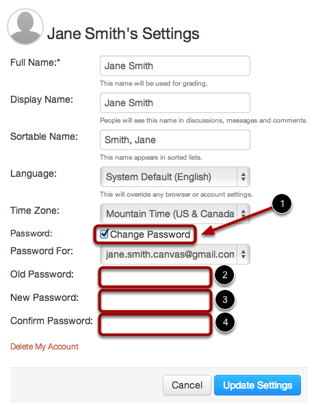 Click Change Password Checkbox