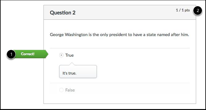 Student View of True/False Feedback