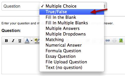 Select True/False Question Type