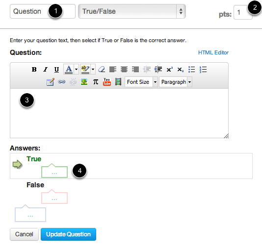 Edit True/False Question Details