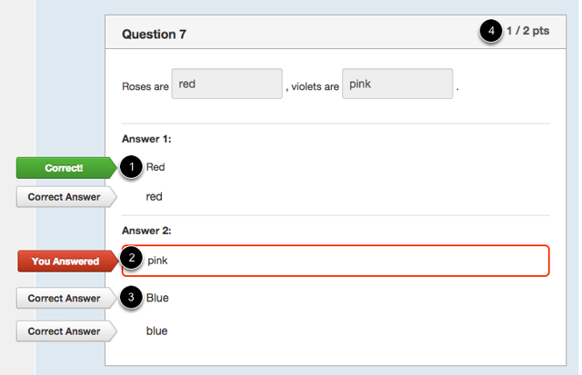 Student View for Fill-in-Multiple-Blanks Feedback