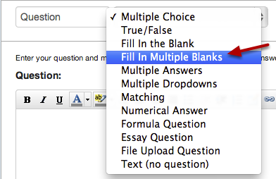 Select Fill-In-Multiple-Blanks Question Type