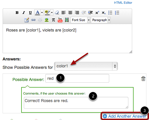 Enter Answer Responses for First Reference Word