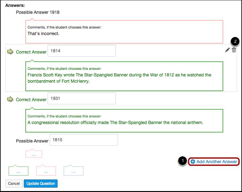 Add or Delete Answers