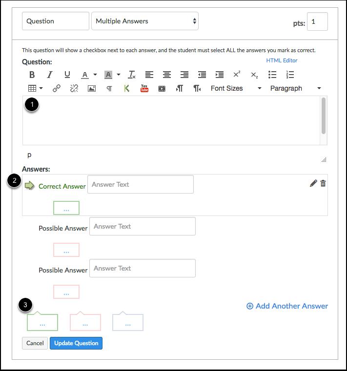 Edit Multiple Answers Question Details
