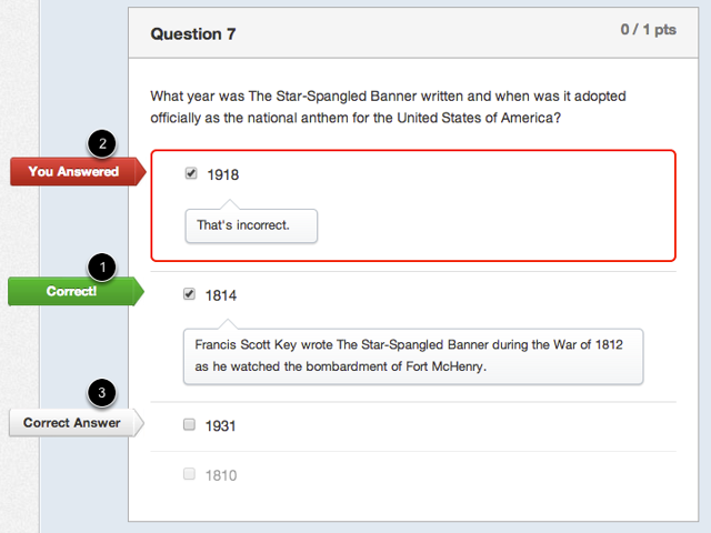 Student View for Multiple Answers Feedback