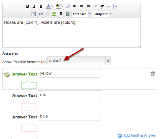 Enter Answer Responses for Additional Reference Words