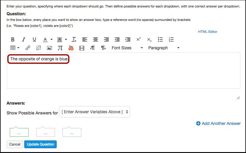 Enter Question Details