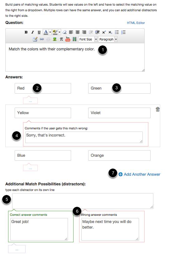 Edit Matching Question Details