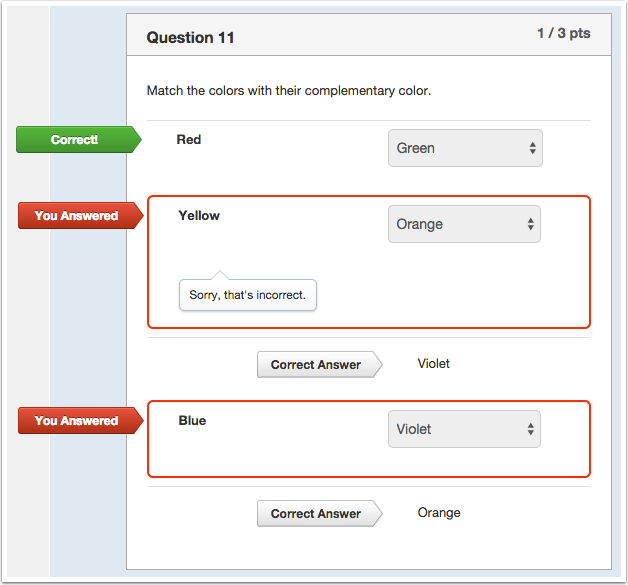 Student View for Matching Question