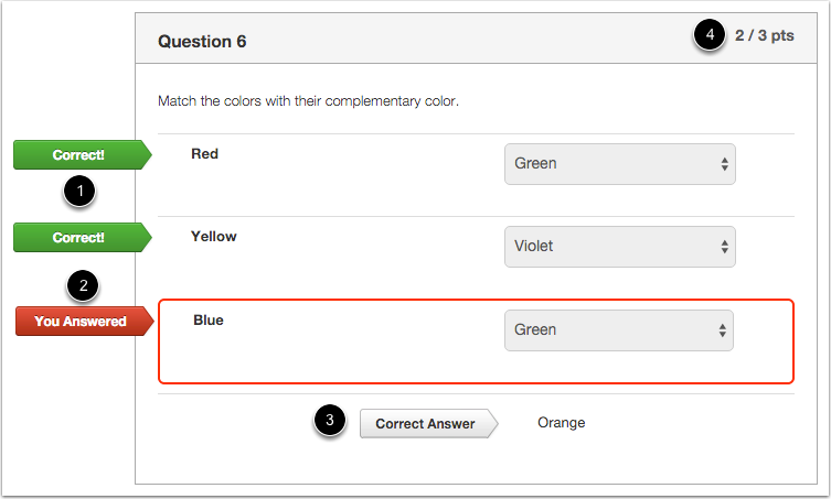 Student View for Matching Feedback