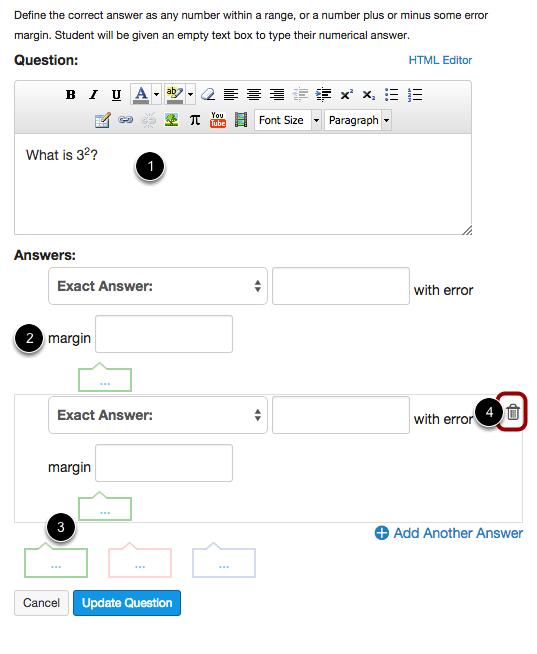 Edit Numerical Answer Question Details