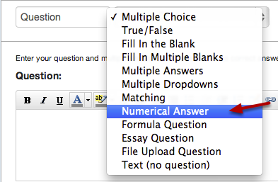 Select Numerical Answer Question Type