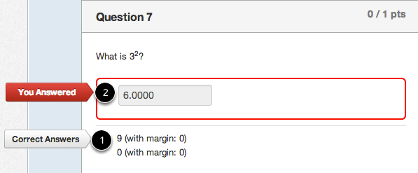 Student View for Numerical Answer Incorrect Answer