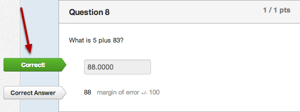 Student View for Formula Question Correct Answer