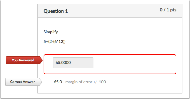 Student View for Formula Question Incorrect Answer