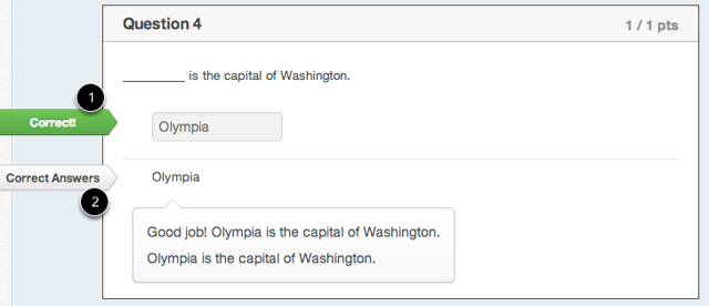 """Student View for """"Fill-in-the-blank"""" Feedback Correct Answer"""