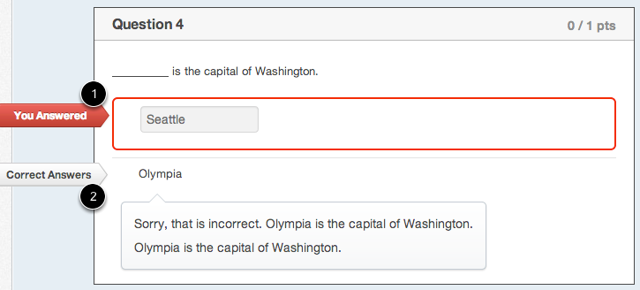 """Student View for """"Fill-in-the-blank"""" Feedback Incorrect Answer"""