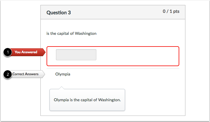 Student View for Fill-in-the-Blank Feedback Incorrect Answer