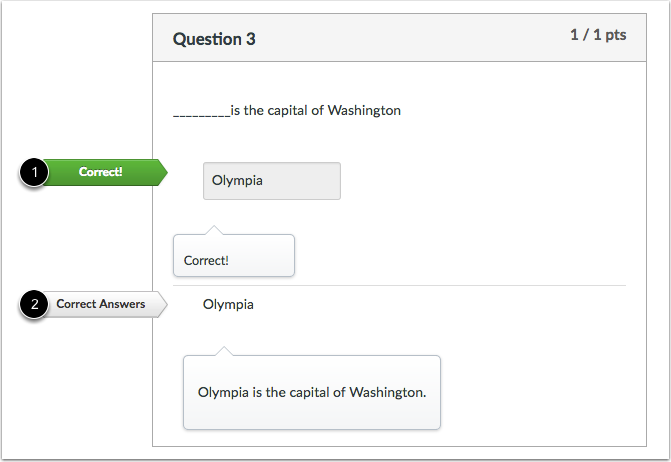 Student View for Fill-in-the-Blank Feedback Correct Answer