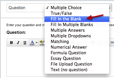 Select Fill in the Blank Question Type