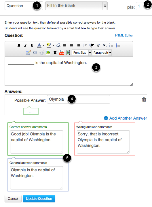 Edit Fill-In-the-Blank Question Details