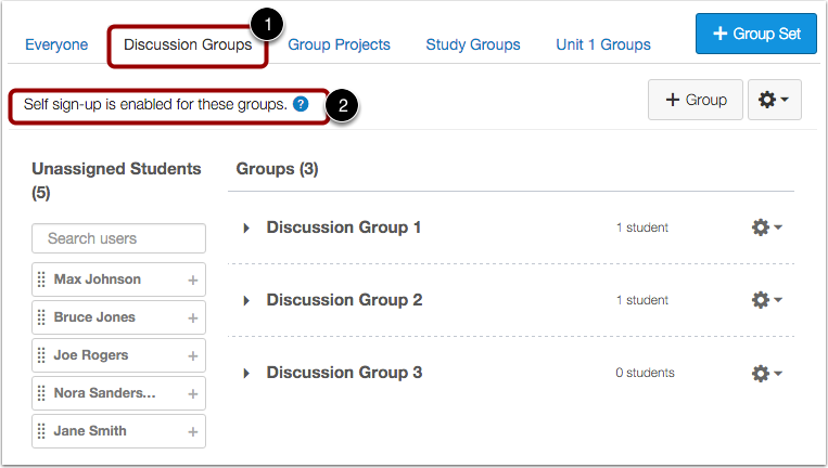 Confirm Group Creation and Options