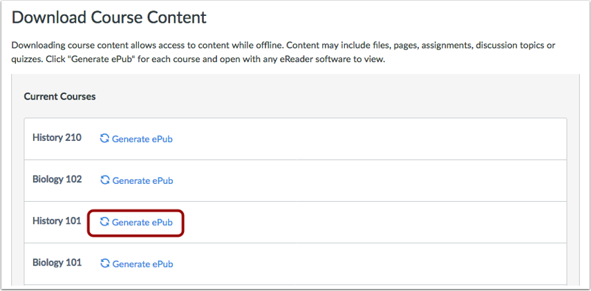 Generate ePub