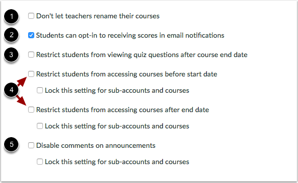 View account setting checkboxes