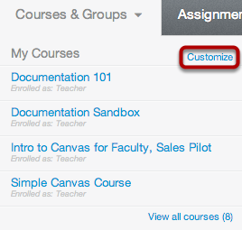 Select Courses from the Global Navigation