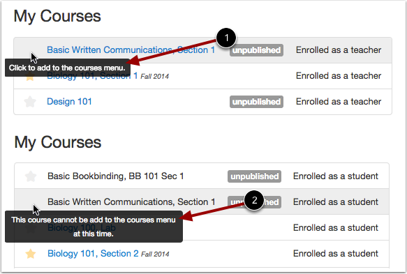 View Unpublished Courses