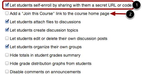 Set Self-Enrollment Options
