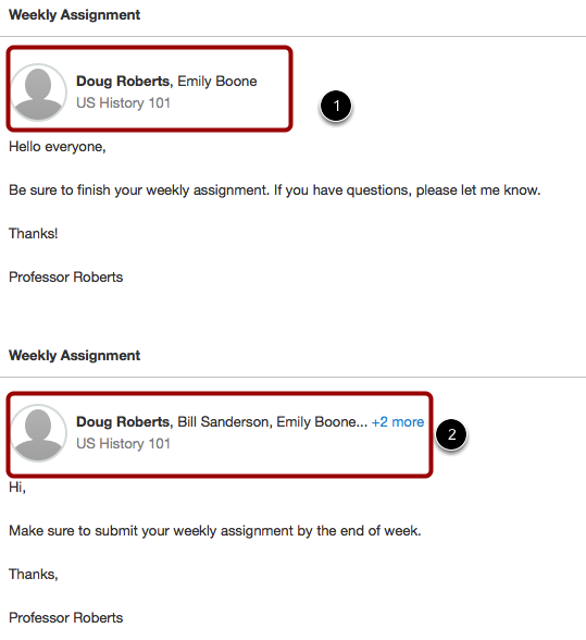 Student View: Individual and Multiple Recipient Message