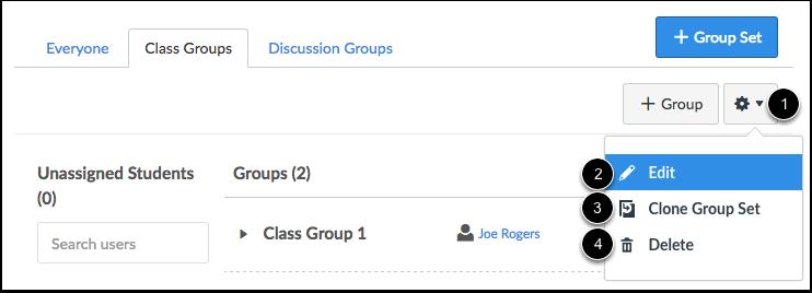 Gerenciar Conjunto de Grupo