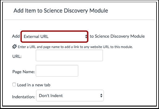 Adicionar URL Externa