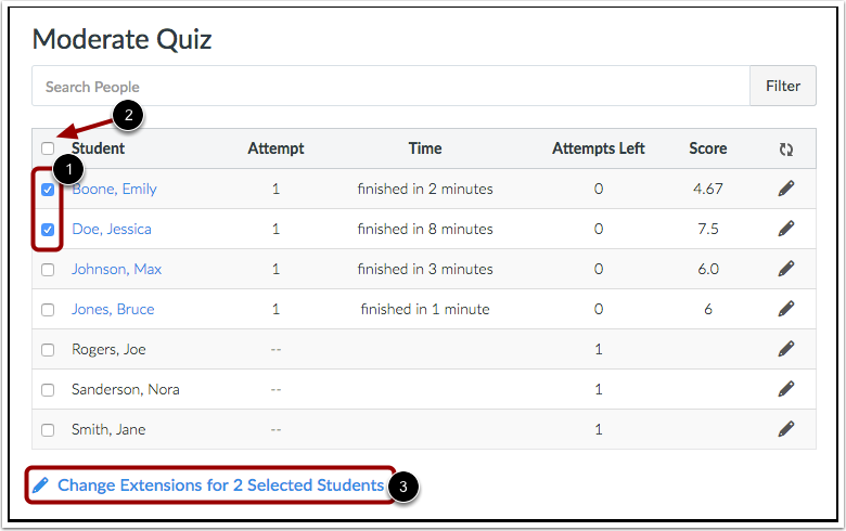 Moderate Quiz for Multiple Students