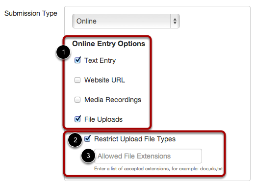 Select Online Submission Types