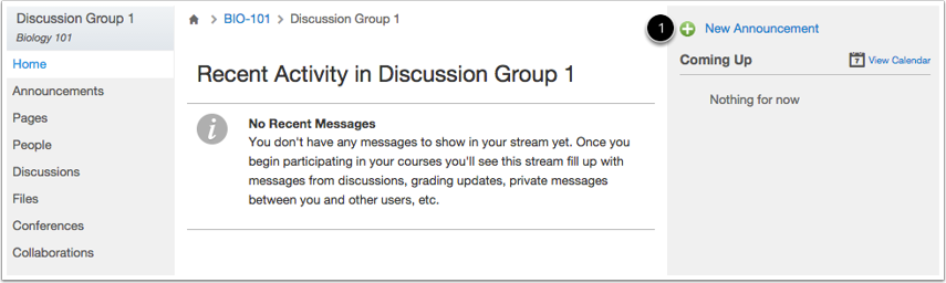 Add Announcement in Group Home Page