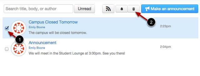 Delete Announcement via Index Page