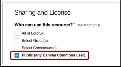 Compartir con el público (todos los usuarios de Canvas)