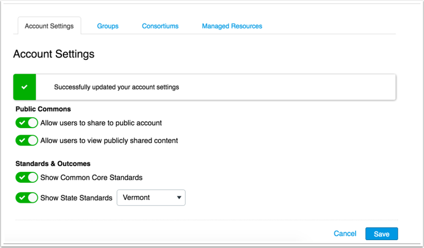 Ver la configuración actualizada de la cuenta