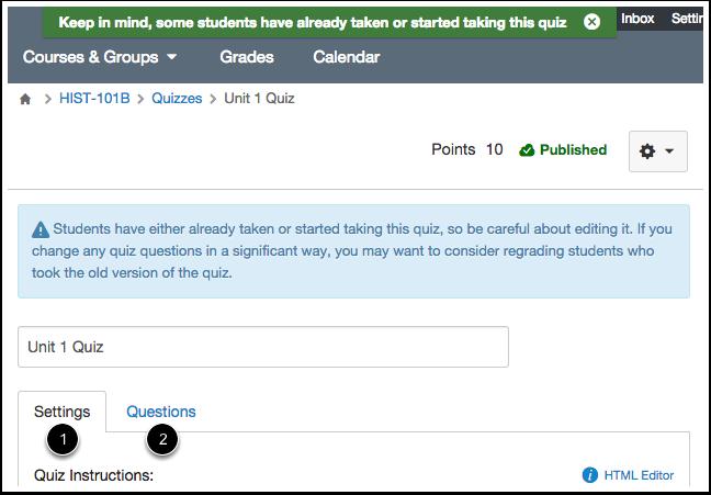 Edit Quiz Settings or Questions