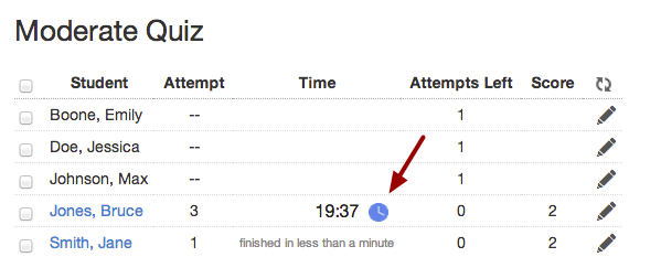 Add Extra Time on Current Attempt for Timed Quizzes